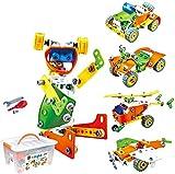 HahaGo 163pcs STEM Toys Kit Blocs de Construction Jouet-Motorisé Apprentissage Éducatif Construction Engineering DIY Robot Kits Set Cadeau d'anniversaire Présent pour Les Enfants (5 en 1)