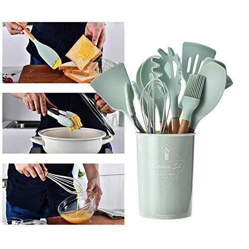 UniForU Lot de 11 ustensiles de cuisine en silicone avec poignées en bois naturel antiadhésif, spatule, cuillère, passoire, outil de cuisine - 1