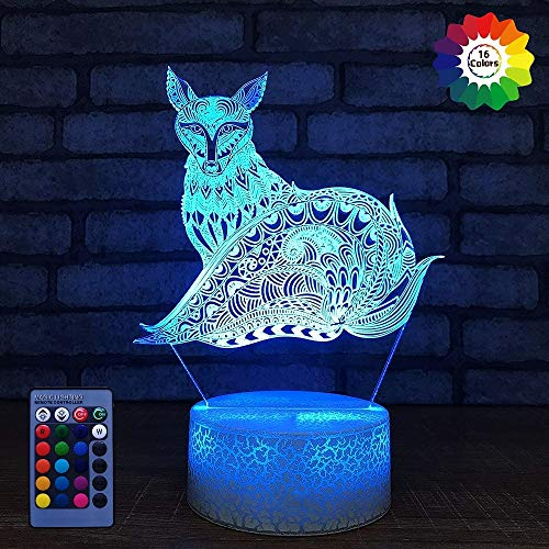 HPBN8 Ltd Creative 3D Fox Night Light USB Powered Remote Control Touch Switch LED Decor Table Desk Optical Illusion 3D Lamp 7/16 Colors Changing Lights Children Kids Toy Xmas Brithday Gift