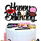 Makeup Cake Topper Happy Birthday Sign Cake Decorations for Girl Women Female Makeup Spa Themed Birthday Party Supplies Black Glitter Decor