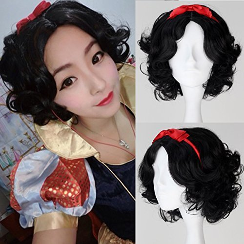 Miss U Hair Princess Snow White Short Black Curly Cosplay Wig with Red Bownot C121 by Miss U Hair