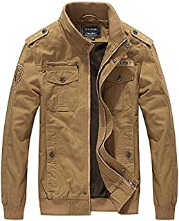 H.T.Niao Imported Jacket for Men Winter Camouflage Military Design Army Style Cotton Casual Slim Fit Stand Collar Coat Latest Fashion (J9931 Khaki_$P_Khaki)