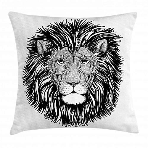 MZZhuBao Indie - Funda de cojín, diseño de león salvaje hipster con gafas de gato grande inteligente inteligente con retrato de animales, 45,72 x 45,72 cm, color blanco y negro
