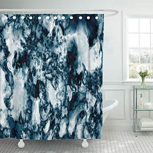 KUKUALE 1 Stück graues Muster Blauer Marmor abstrakte Natur Rock White Granit Duschvorhang wasserdichtes Polyester Stoff Set 180X180Cm (71X71In)