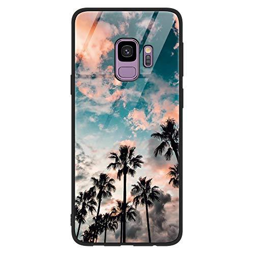 Coque Samsung Galaxy S9, ZhuoFan Etui en Silicone 3D Arrière en Verre Trempé avec Motif Dessin Antichoc Housse de Protection Case Coque pour Téléphone Samsung GalaxyS9 5.8 Pouces, Cocotier