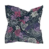 Women's Soft Polyester Silk Scarf, 23.62'x23.62'large Square Printed Seamless Vector Pattern Wallpaper Background Roses Silk Feel Scarf