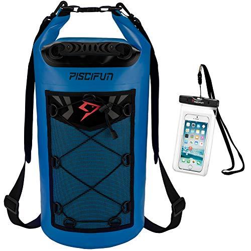 ピシファン(Piscifun)多機能 ドライバッグ 大容量 500D PVC防水 高品質リュック 10L ネイビー