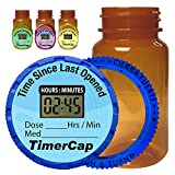 TimerCap Automatically Displays Time Since Last Opened - Built-in Stopwatch Smart Pill Bottle Cap Medication Reminder Case (4 Pack - Large 4 oz Amber Bottles) EZ -Twist/CRC