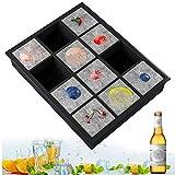 Bandeja de hielo de silicona, 1 pc cubitera hielo molde para hielos con 12 compartimentos, bandeja de cubitos de hielo para congelarse alimentos para bebés, cócteles, cola, whisky (negro, 1 pack)