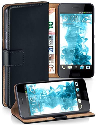 MoEx Premium Book-Hülle Handytasche passend für HTC One A9s   Handyhülle mit Kartenfach & Ständer - 360 Grad Schutz Handy Tasche, Schwarz