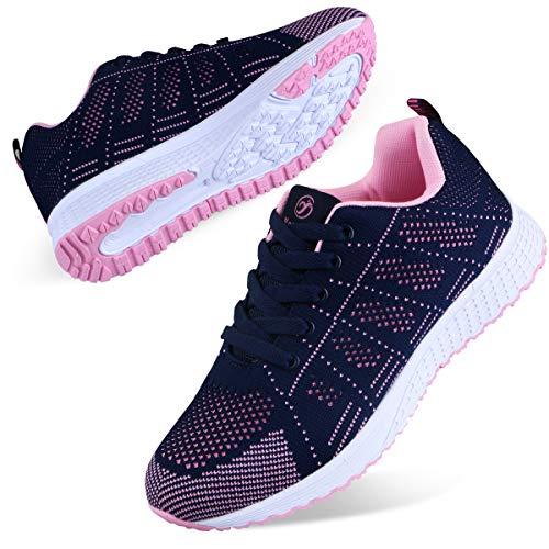 Youecci Zapatillas de Deportivos de Running para Mujer Deportivo de Exterior Interior Gimnasia Ligero Sneakers Fitness Atlético Caminar Zapatos Transpirable Azul 38 EU