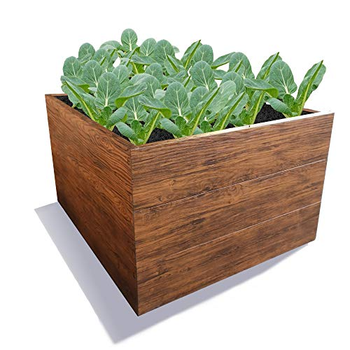 Gartendek Raised Garden Bed Wood Effect, Garden Planter Box LBH 117x117x63 cm - Premium Quality, Galvanised Metal, for Herbs, Flowers and Vegetables, Very Durable, Easy to Install Without Tools