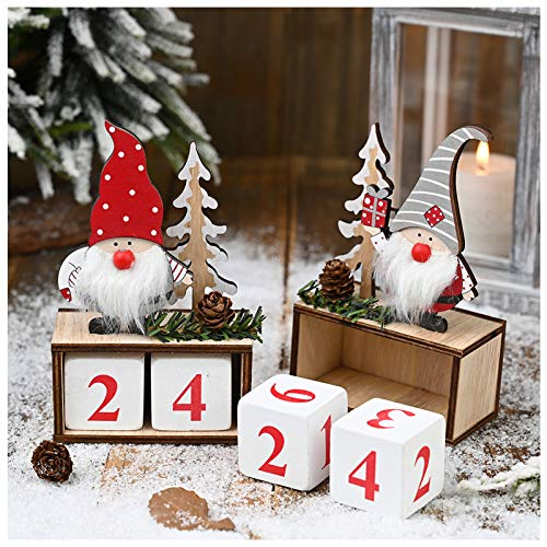 Set of 2 Swedish Tomte Christmas Countdown Wooden Blocks- 2 Styles Desktop Christmas Advent Calendars with Cute Scandinavian Santa Claus Gnome Elf Shaped Design for Xmas Holiday Tabletop Decoration