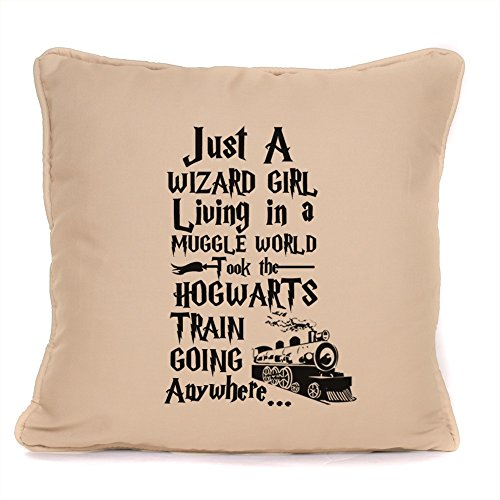 Harry Potter Gift 'Just A Wizard Girl Living in a Muggle World' Quote Design Throw Pillow Piped Cushion with Pad | Perfect Birthday Present for Fans,Friends,Family | 18 x18