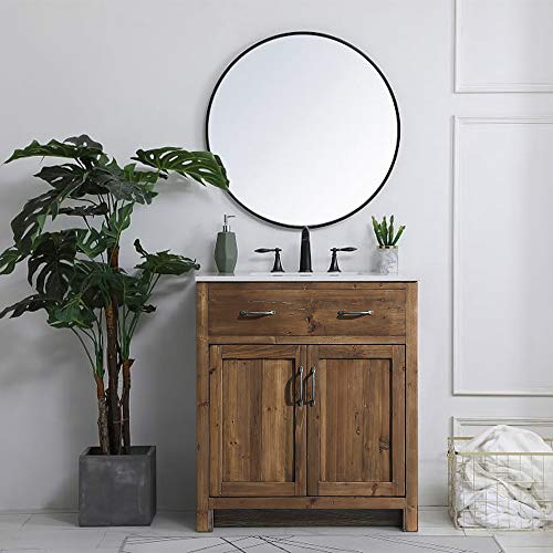 """LUCA Kitchen & Bath LC36TDP Hampton 36"""" Reclaimed Wood Single Sink Bathroom Vanity Cabinet Base Only-No Assembly Required, No Top Included, Rustic"""