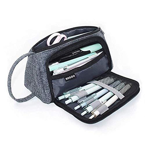 Estuche de gran capacidad para lápices, bolsa para bolígrafos, para la escuela secundaria, oficina, colegio, niña, adulto, almacenamiento grande, color rosa, gris oscuro