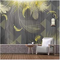 カスタム壁画 ゴールデンフェザー 3Dの壁紙 リビングルームテレビソファの家の装飾 -350x250cm/138x98inch