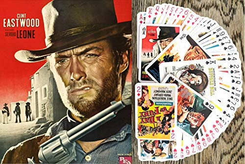 FlonzGift Spaghetti Western Playing Cards (Poker Deck 54 Cards All Different) Vintage Western Movie Poster Wild West