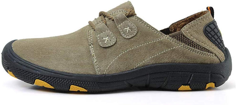 ZHRUI Men Genuine Leather shoes Autumn Winter Warm Fur shoes Sneakers Casual Fashion Walking shoes (color   Fur Khaki, Size   8=42 EU)