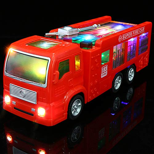 Electric Fire Truck Toy for Kids - 3D Flashing Lights and Siren Sounds Bump Goes Around and Changes Directions, Engine Truck Toys for Toddlers & Children Ages 3+ Years