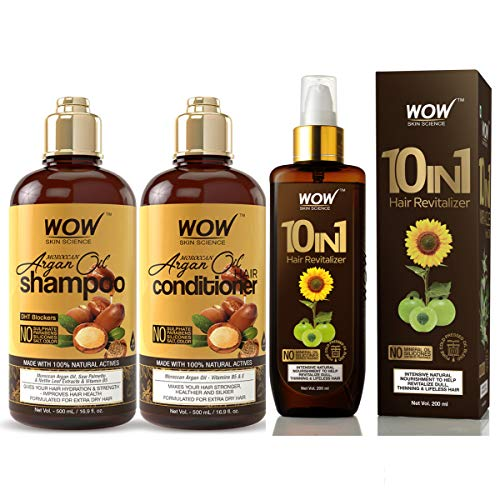 WOW Moroccan Argan Oil Shampoo & Conditioner Set (2x 500ml) and Leave In Conditioner Spray (200ml) Bundle Kit - Hair Growth & Detangler