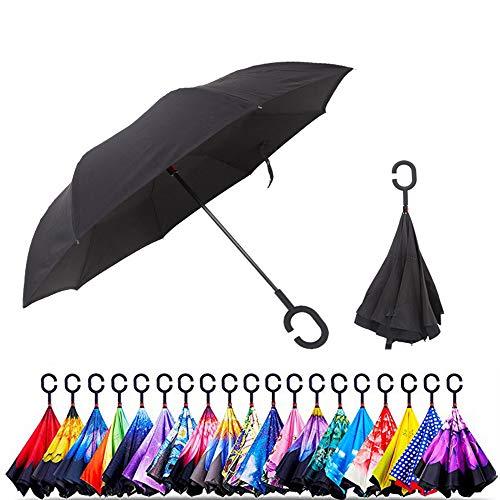 Original Deals Reverse Umbrella, Double Layer, UV Protection, Unique Windproof Umbrella, Reverse Open, Foldable Umbrella with C-Hooks to Hang on Dots, Black