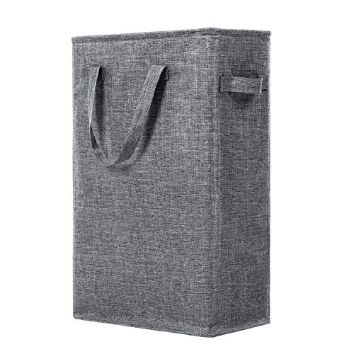WOWLIVE 45L Slim Thin Laundry Hamper Small Laundry Basket with Handles Foldable Skinny Hamper for Laundry Durable Collapsible Dirty Clothes Hamper Grey2