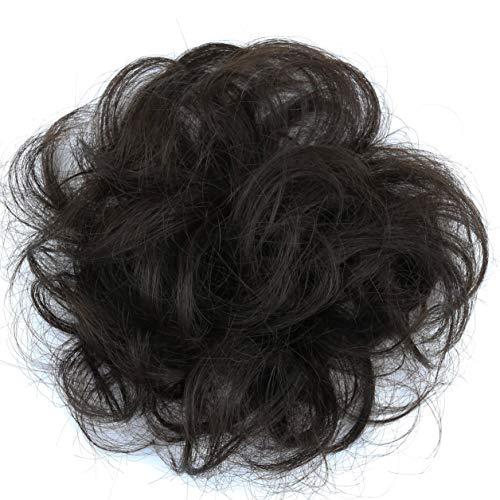PRETTYSHOP 100% ECHTHAAR Haargummi Haarteil Haarverdichtung Zopf Haarband Haarschmuck Schwarzbraun H312g