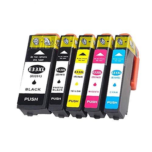 Teland 33 XL - Cartucho de tinta compatible con Expression Premium XP-530 XP-540 XP-630 XP-635 XP-640 XP-645 XP-830 XP-900 (1 negro, 1 foto, 1 magenta, 1 amarillo)