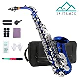 EastRock Alto Saxophone Blue Laquer Nickel Key E Flat for Students Beginners with Hard Case,Mouthpiece,Mouthpiece Cushion Pads,Cleaning Cloth&Cleaning Rod,White Gloves,Alcohol Pads,neck Strap