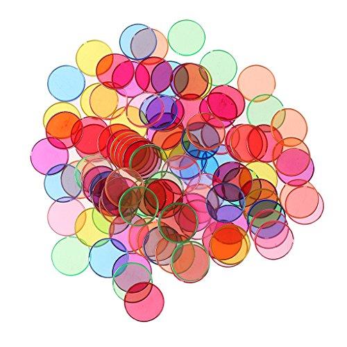 Sharplace 100 Pièces Chip jeton Magnétiques Ronds en Plastique Multicolore Bord en Métal pour Scientifique Magnétique Expérimental