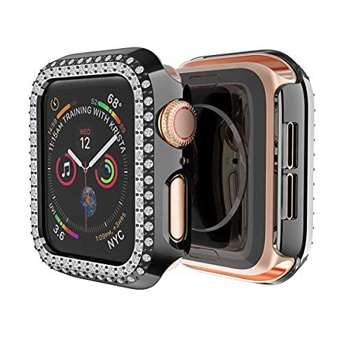 AISPORTS Compatible con Apple Watch Case de 38mm para Mujeres y Niñas,Estuche Rígido para PC Doble Hilera de Diamantes de Imitación de Diamantes de Cristal Funda Protectora para iWatch Series 3/2/1