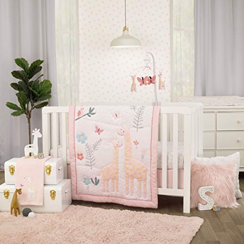 Carter's Pretty Pink Giraffes Multi Colored 3Piece Crib Bedding Set - Comforter, Fitted Crib Sheet, & Crib Skirt, Pink, Yellow, Teal, Coral