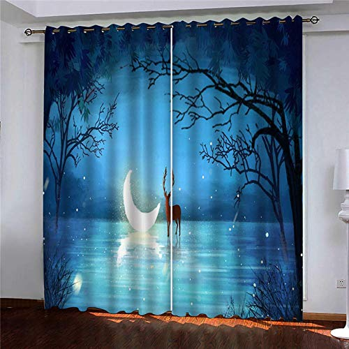 CLYDX Kids Blackout Curtains for Bedroom 3D Printed Thermal Insulated Curtains Eyelet Blackout Curtains for Bedroom 2 * W29.5 x L65 - Moon Sea Fawn