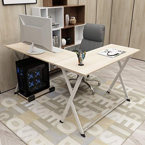 DlandHome L Mesa Escritorio de la computadora 120cm+110cm, Ordenador Portátil para PC Estación de Trabajo de Estudio Mesa de Esquina con CPU Stand, Maple