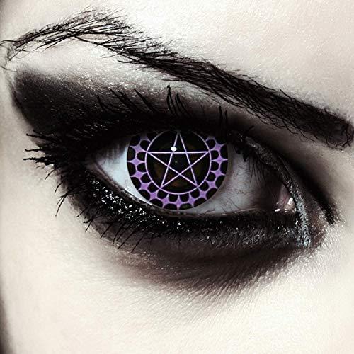 Designlenses, Dos lentillas de color negro y morado patrn de pentagrama para Halloween disfraz lentes sin dioprtas/corregir + gratis caso de lente Ciel'