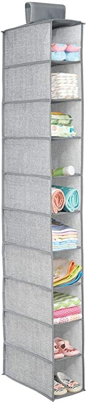 MDesign Soft Fabric Over Closet Rod Hanging Storage Organizer With 10 Shelves For Child Kids Room Or Nursery Holds Wipes Diapers Blankets Shoes Textured Print Gray