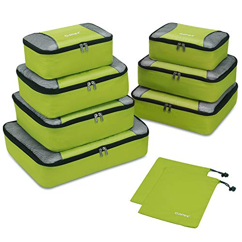Gonex Packing Cubes Rip-Stop Nylon Travel Organizers Packing Bags Set of 9 Packs