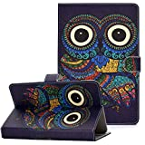 Coopts Case for 6.5-7.5 Inch Tablet Case, PU Leather Stand Wallet Cover for Samsung Galaxy Tab A 7.0/ Tab 4 7.0/ Tab 3 Lite 7.0/kindle fire 7/ RCA/Google Nexu and More 6.5'-7.5' Tablet, Owl