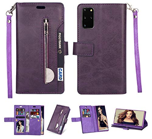 FLYEE for Galaxy S20 Plus Wallet Case,10 Card Slots Premium Leather Zipper Purse case Flip Kickstand Folio Magnetic with Wrist Strap Credit Cash Cover for S20 Plus 6.7 inch [Purple]