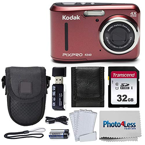 Kodak PIXPRO Friendly Zoom FZ43 16 MP Digital Camera with 4X Optical Zoom and 2.7 LCD Screen (Red) + Black Point & Shoot Case + Transcend 32GB UHS-I U1 SD Memory Card & More!…