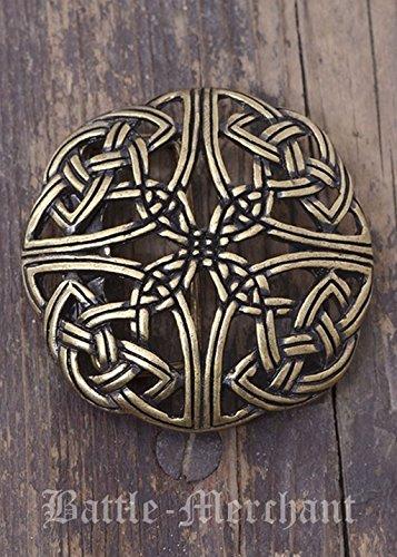 Battle Merchant Cinturón Hebilla-keltisches patrón, durchbrochen Larp gürtelschließe Vikingo Medieval Plata o Bronce, marrón