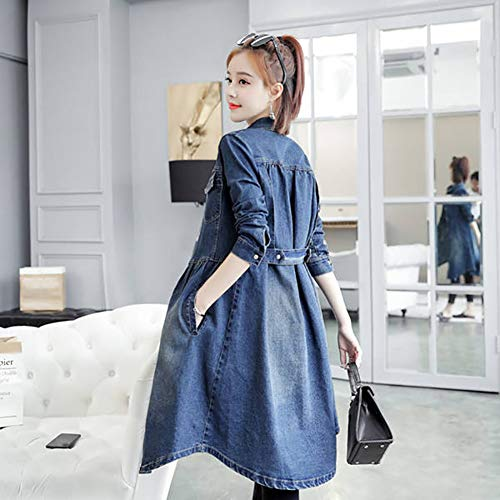 CLZC dames denim cardigan trenchcoat long stijl casual windbreaker donkerblauwe denim stof lente knoop cardigan trenchcoat
