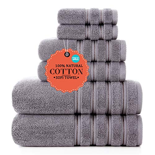 Luxury Turkish Towels Bathroom Sets Clearance 6 Piece Bath Towel Set - 2 Bath Towels, 2 Hand Towels, 2 Washcloths, Super Soft Highly Absorbent Grey
