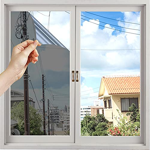 Kuson Fensterfolie Sonnenschutzfolie für Fenster Fensterfolie Selbsthaftend Blickdicht Sichtschutz Spiegelfolie 40x400cm