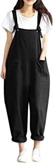 UOFOCO Strap Belt Bib Jumpsuits for Womens Casual Overall Pants Loose Trousers