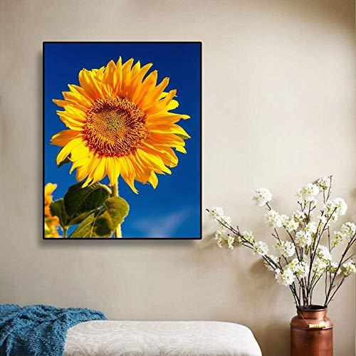 Rahmenlose Fotos von Wohnzimmer Wandgemälden/HD-Drucke Skandinavische Sonnenblumen Wand Leinwand Gemälde und Drucke/Babyzimmer Kinderzimmer Möbel Dekoration