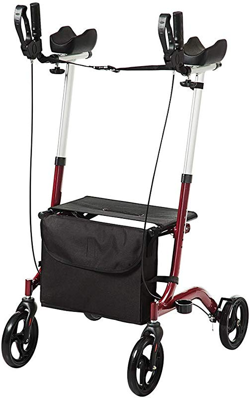 ELENKER Upright Walker Stand Up Folding Rollator Walker With Padded Armrests For Seniors And Adults Red