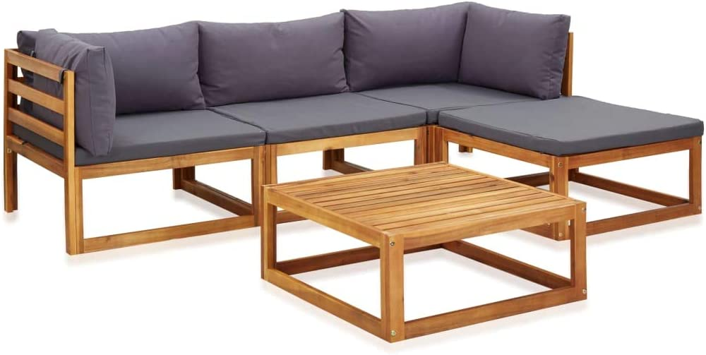 vidaXL Raleigh Mall Solid Acacia Wood 5 Piece Lounge Garden with Ranking TOP12 Set Cushions