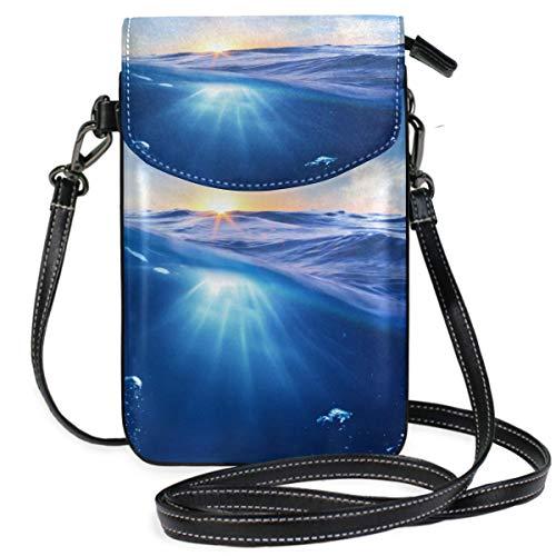 XCNGG Portamonete piccolo a tracolla Sun Underwater Bubbles SunsetPhonepurse per borse da donna Borsa in pelle multicolore per smartphone con tracolla rimovibile